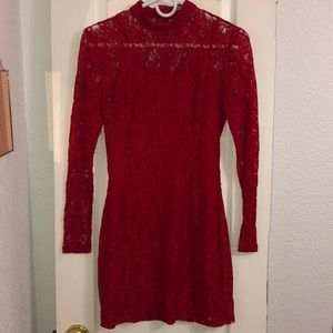 Just fab red lace long sleeve dress